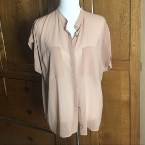 CAbi Tops - Beige cabi side pocket nude blouse L
